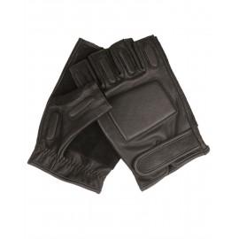 Security Black Leather Fingerless Gloves