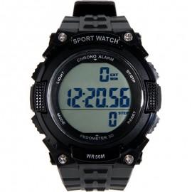 Relógio Táctico c/ Pedômetro Preto