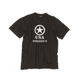"T-Shirt ""Allied Star"" Preta"