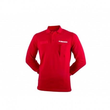 Red Long Sleeve Fireman Polo